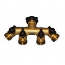Brass 4 Way Water Distributor Tap Extensions